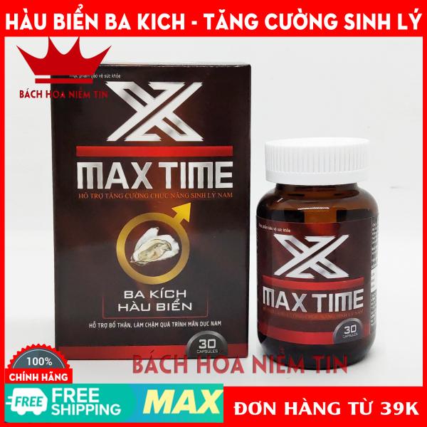 Viên uống bổ thận MAX TIME - Thành phần hàu biển, ba kích,  nhân sâm giúp bổ thận tráng dương, tăng cường sinh lý - Hộp 30 viên Hàng Chính Hãng