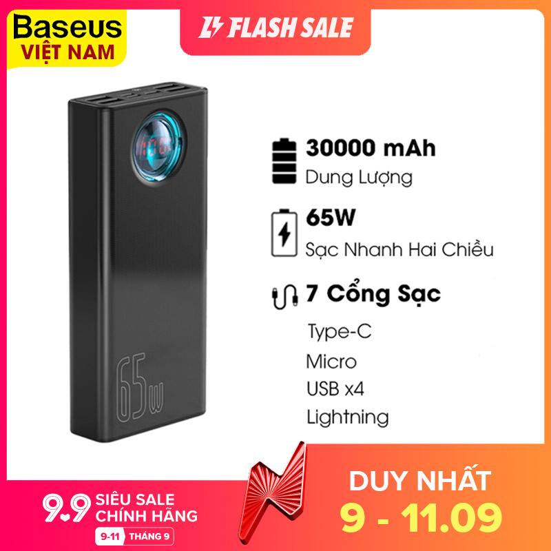 Pin sạc dự phòng Baseus BS-30KP365 dung lượng 30000mAh - 65W sạc nhanh QC3.0 cho Iphone Ipad Laptop