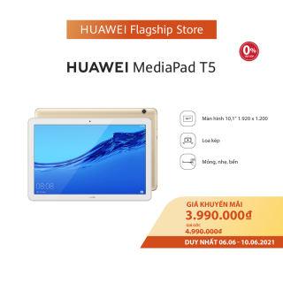 VOUCHER 8% TỐI ĐA 800K   VOUCHER 50K   Máy tính bảng Huawei Mediapad T5 (3GB/32GB)   Chip Kirin 659   Màn hình LCD 10.1 inch độ phân giải Full HD   Công nghệ âm thanh Dual stereo speakers   Dung lượng pin 5100 mAh   6.6-10.6