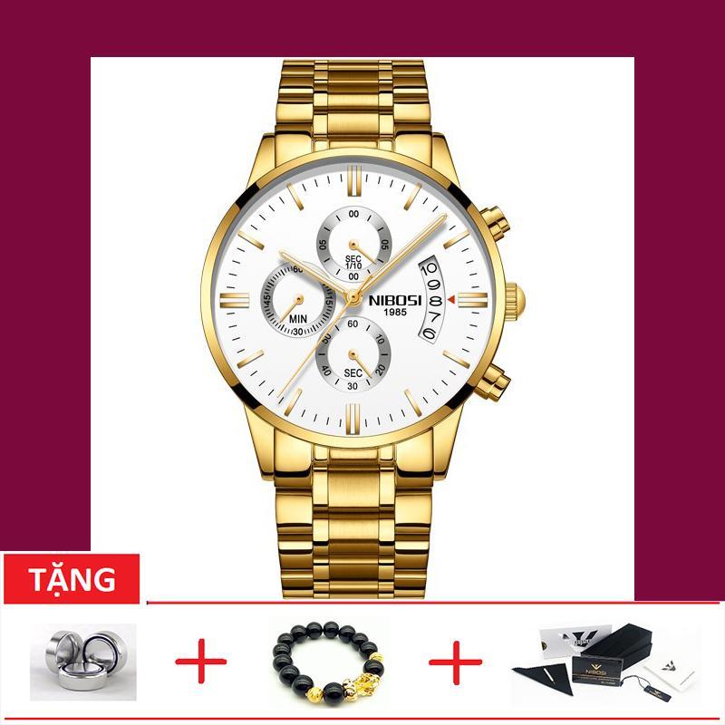 Nơi bán Đồng hồ nam dây thép không gỉ Nibosi OT230-9T 6 kim quay (TẶNG BOX, PIN, VÀ VÒNG TAY TỲ HƯU)