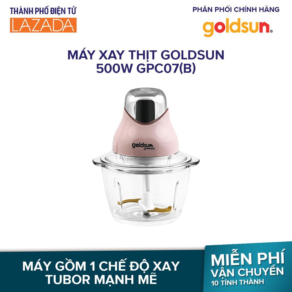 Máy xay thịt Goldsun 500W GPC07 (B)  - Cối thủy tinh cao cấp 1L, Lưỡi dao thép phủ titantium - Hãng phân phối chính thức
