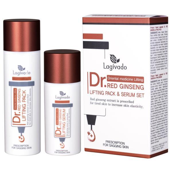 Bộ đôi mặt nạ dưỡng da hồng sâm Hàn Quốc Lagivado Dr. Red Ginseng Lifting Pack 50 ml và Serum dưỡng da 30 ml