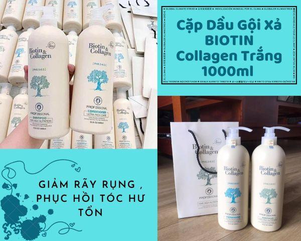 Cặp Dầu Gội Xả BIOTIN Collagen Trắng 1000ml Giảm Rãy Rụng , Phục Hồi Tóc Hư Tổn nhập khẩu