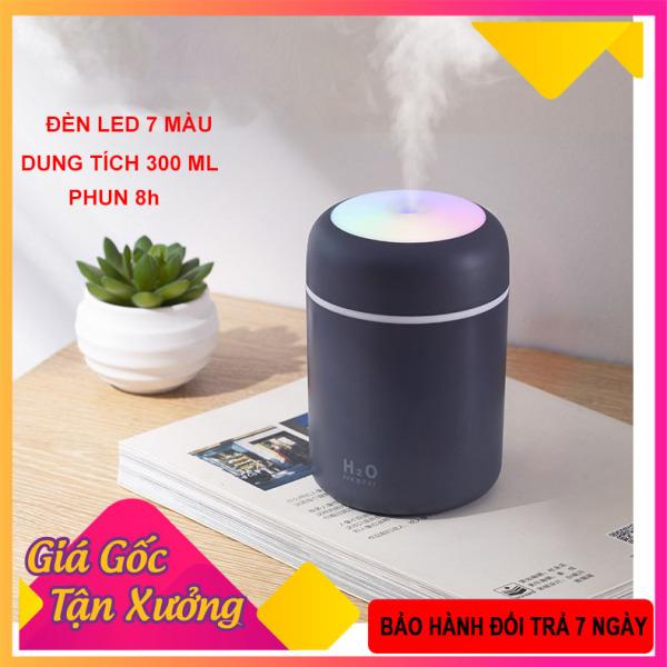 Máy phun sương nano mini( tặng lõi bông), máy khếch tán tinh dầu làm đèn ngủ, phun sương tạo ẩm không khí, đèn led 7 màu, sạc USB, dung tích 300 ml shop [Akycare]