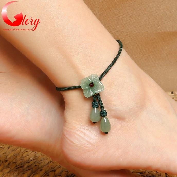 Lắc chân nữ dễ thương đá mã não đẹp-Vòng lắc chân nữ chỉ xanh cẩm thạch mã não BG333927