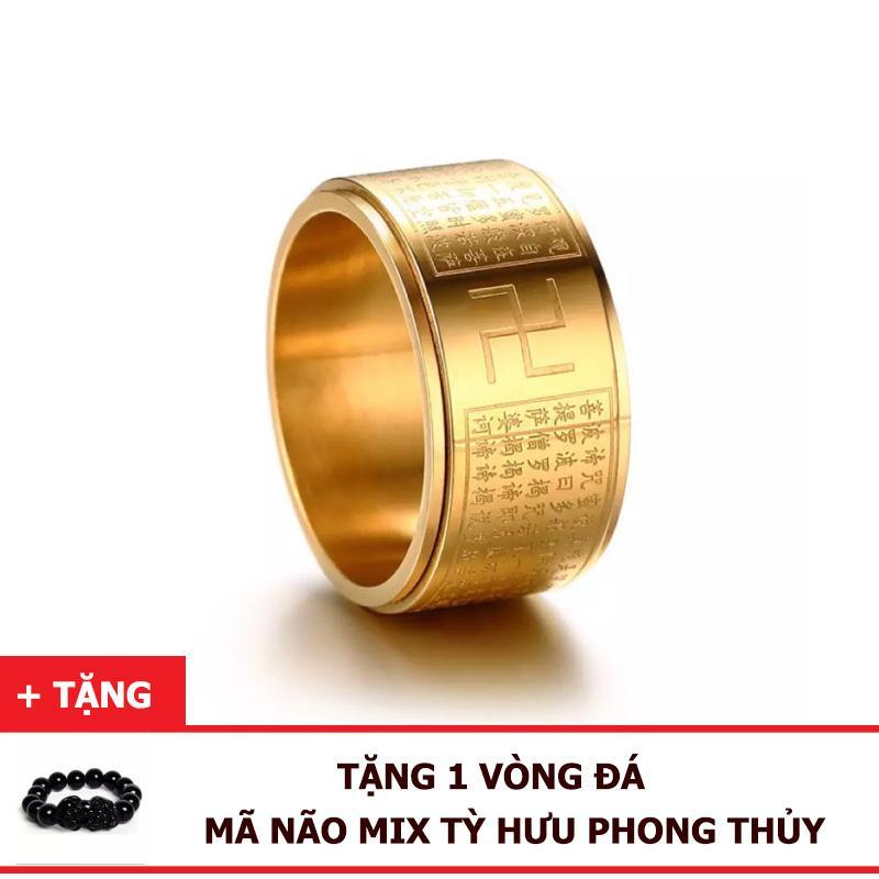 [Tặng Vòng Đá] Nhẫn Bát Nhã Tâm Kinh Titan - Nhẫn Xoay May Mắn - Tài Lộc, Bình An Giá Siêu Rẻ