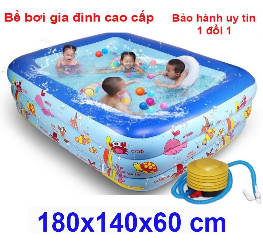 Bể Bơi Phao 3 Tầng 3 Chi Tiết Giá Cực Tốt - Hồ bơi ở nhà  180 x 140 x 60 cm cỡ lớn cho bé và gia đình. loại dày dặn có tặng kèm( bơm hơi + miếng vá )
