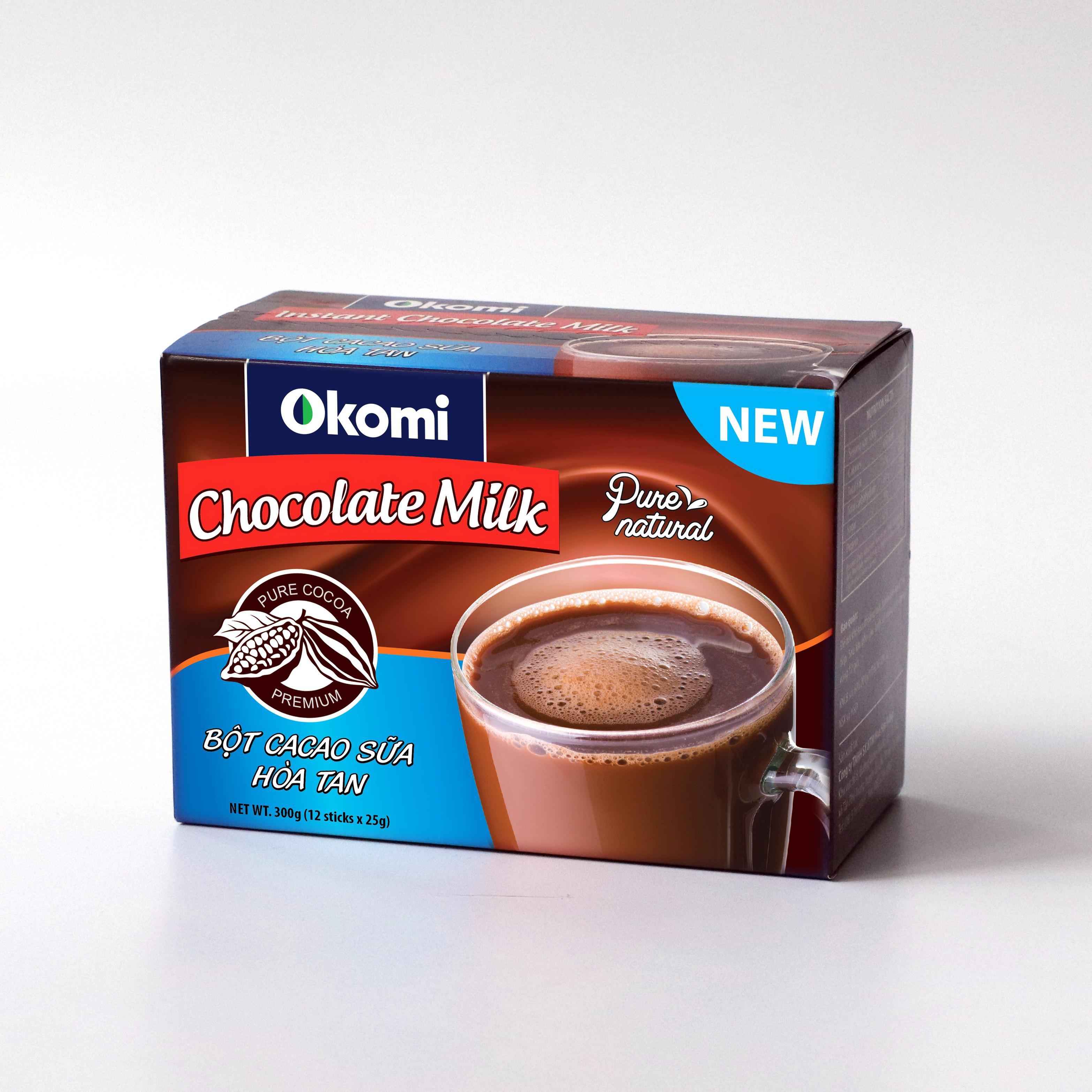 Bột Cacao sữa hòa tan OKOMI Hộp 12 gói x 25gr