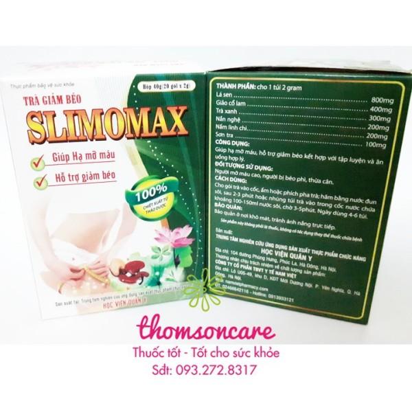 Slimomax trà giảm cân - chính hãng Học viện quân y, sản phẩm có nguồn gốc xuất xứ rõ ràng, sử dụng dễ dàng, cam kết hàng nhận được giống với mô tả giá rẻ