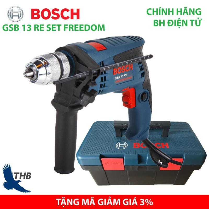 Bộ máy khoan gia đình Bosch GSB 13 RE SET FREEDOM Hộp nhựa Bảo hành điện tử 12 tháng