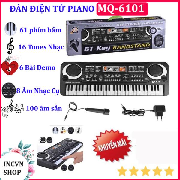 ( Tặng kèm phụ kiện)Đàn piano điện tử  61 phím MQ-6106- Đàn piano có mic cho bé,đàn piano điện,đàn cho bé,đàn piano mini,dan piano, đàn điện tử Đồ chơi trẻ em- Âm sắc rõ ràng, vang tốt, trọng lượng nhẹ và dễ sử dụng