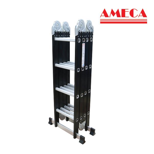 Thang nhôm gấp đa năng 4 bậc 4 khúc Ameca AMC-M204N tải trọng 150kg, 4x4 bậc