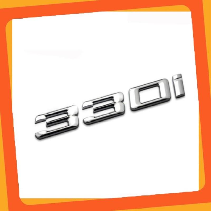 Decal tem chữ inox 330i dán đuôi xe ô tô