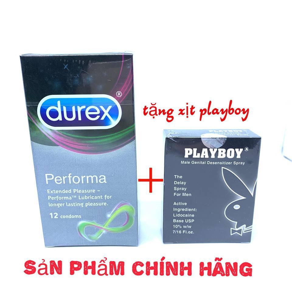 Bao Cao Su Durex Performa 12 Condoms + tặng xịt kéo dài playboy chính hãng