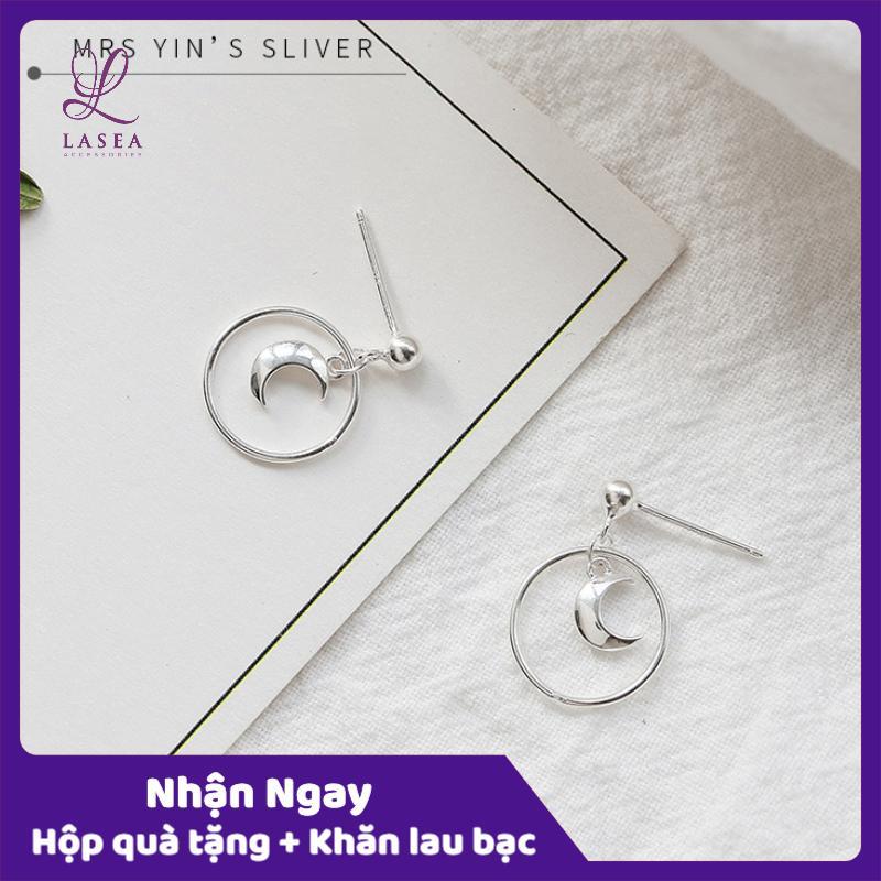 Bông Tai Nữ Trang Sức Bạc Ý S925 Lasea - Hoa Tai Mặt Trăng Thời Trang L013 Cùng Khuyến Mại Sốc