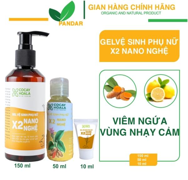Gel dung dịch vệ sinh phụ nữ x2 nano nghệ, hết hôi, hết ngứa, sạch thơm, chai 150ml,PANDAR giá rẻ