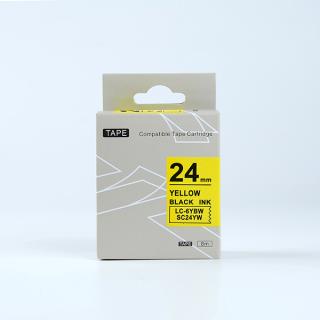 Tape nhãn in SC24YW (LC-6YBW) tương thích máy in nhãn KingJim SR & EPSON LW - Nhãn in chữ đen nền vàng 24mm thumbnail
