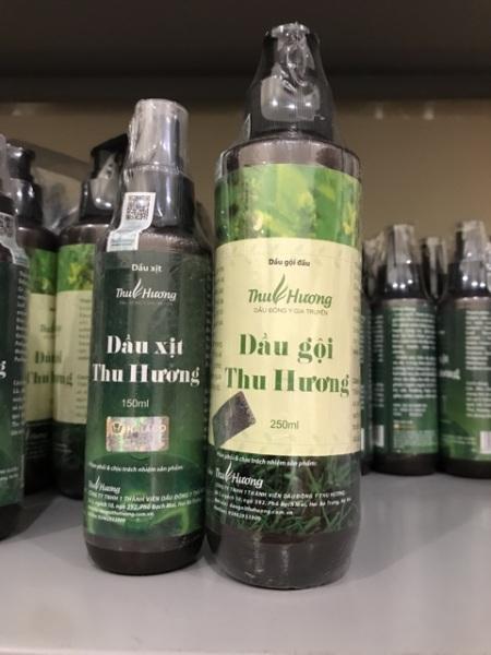 Dầu gội trị rụng tóc, kích thích mọc tóc - Hàng chính hãng Thu Hương - Combo 1 dầu gội 250ml, 1 dầu xịt 150ml giá rẻ