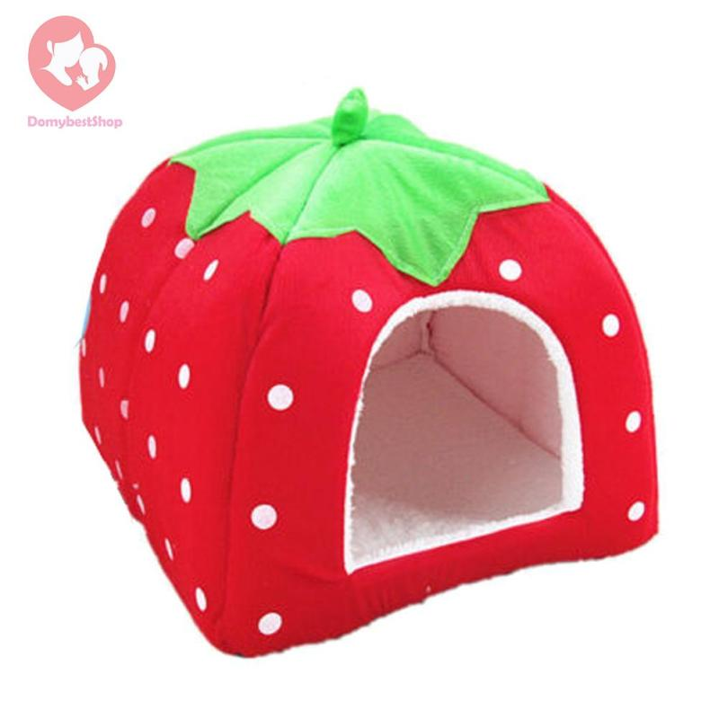 DomybestShop  Strawberry Pet Dog Cat Bed House Kennel Doggy Puppy Basket Pad(Red S)