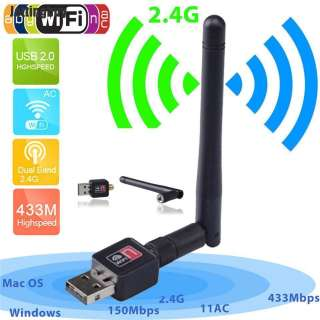 Jettingbuy 300Mbps Băng Tần Kép 2.4/5Ghz Mạng USB WiFi Không Dây Bộ Điều Hợp Màu Đen Với Ăng Ten 802.11AC