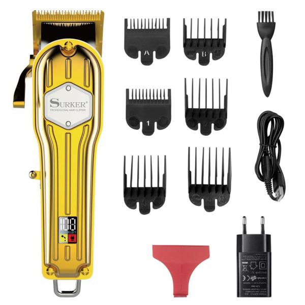 [Nhập ELMAY21 giảm 10% tối đa 200k đơn từ 99k]Tông đơ cắt tóc chuyên nghiệp vỏ thép nguyên khối SURKER K7S pin lithium 2000mAh tặng cữ 15 và 45mm cữ nhựa cao cấp