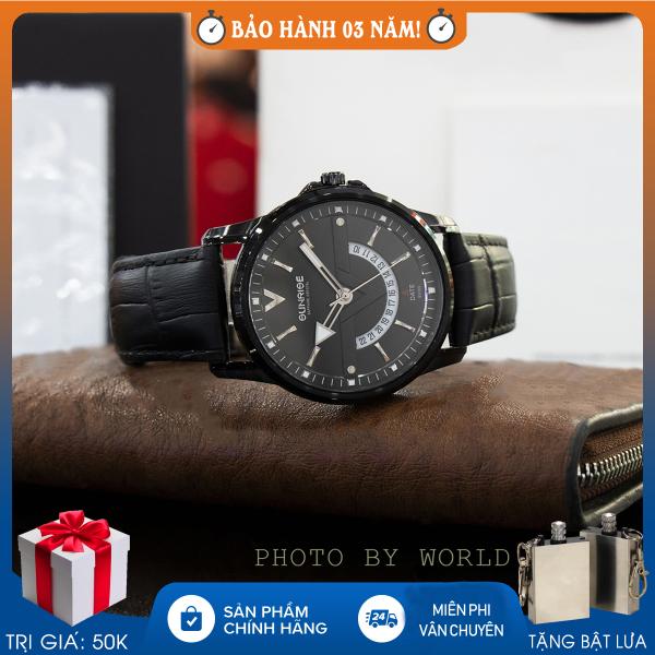 Đồng hồ nam Sunrise DM1116SWA N, full hộp, thẻ bảo hành hãng, kính sapphire chống xước, chống nước, dây da