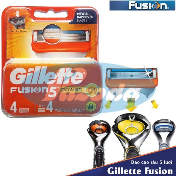 Hộp 4 lưỡi dao cạo râu Gillette Fusion Power (đầu cạo 5 lưỡi kép) giá rẻ