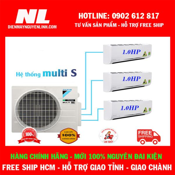 Bảng giá [HCM]Combo 3 dàn lạnh 1 cục nóng Điều Hòa Daikin Inverter Multi S 3.0HP - 1HP + 1HP + 1HP