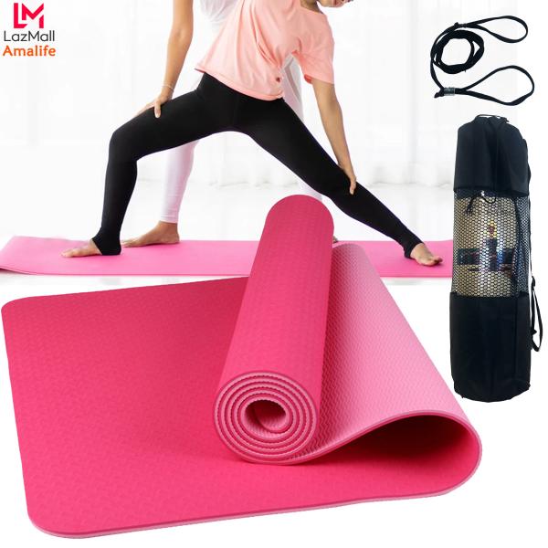 Thảm Tập Yoga 2 Lớp TPE Màu Hồng Cao Cấp - Thảm Tập Gym, Thảm Tập Thể Thao Chống Trượt Không Mùi Thân Thiện Môi Trường