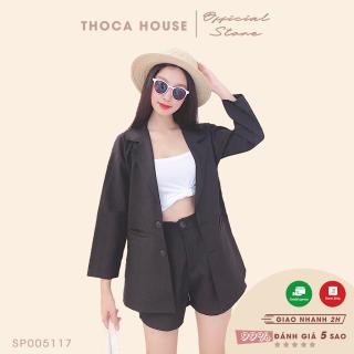 Set vest nữ - Áo blazer túi mổ phối quần short lưng thun đen THOCA HOUSE vải dày đi làm, đi học freesize dưới 56kg thumbnail