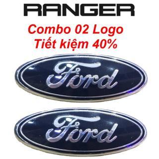 Combo 02 Logo tiết kiệm 40% - Logo FORD ô tô xe hơi Ford (kích thước 23 9 màu xanh) mặt trước và nắp sau tiêu chuẩn SS95 - Logo Ford Thay thế trước và sau cho Ford Ranger - Bản thường - Logo Ford thumbnail