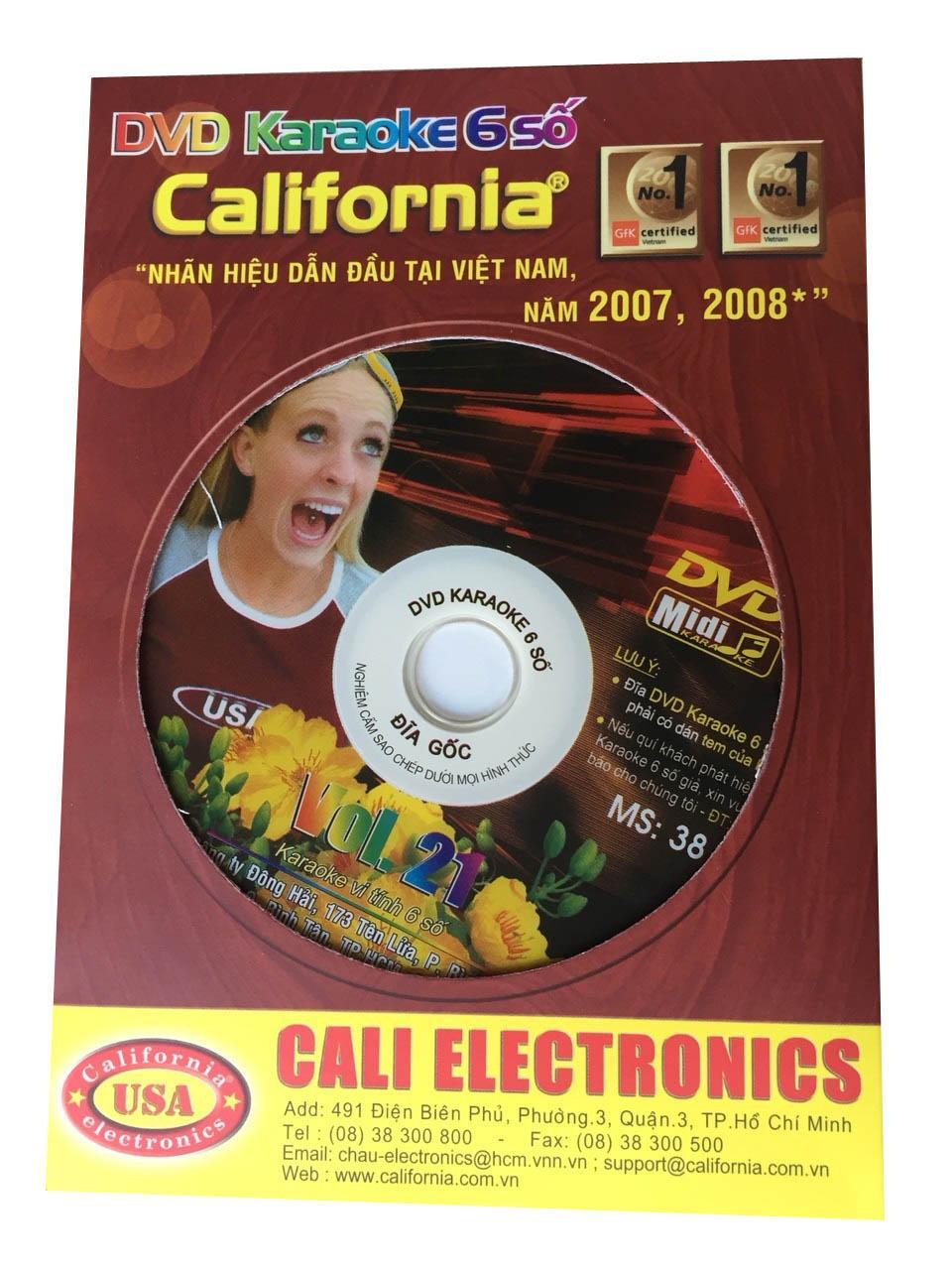 Đĩa Karaoke 6 số California Vol 21 - MS 38 (Hình 1 cô gái Mỹ) + Sách List nhạc
