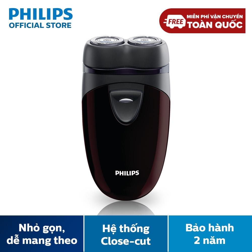 Máy cạo râu Philips PQ206 (Nâu) lưỡi dao xoay tròn - Hàng phân phối chính hãng - Máy sử dụng pin AA tiện thay thế, có thể mang đi du lịch dễ dàng, Sản phẩm thiết kế phù hợp để cạo khô