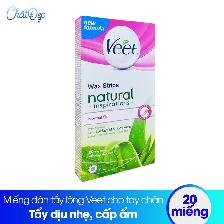 Miếng dán tẩy lông Veet wax strips cho tay chân - 20 miếng nhập khẩu