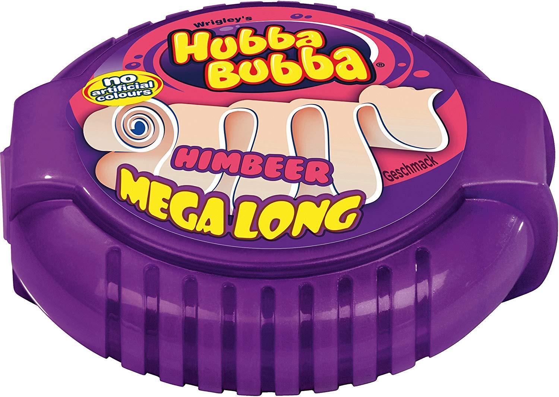 Kẹo gum ( cao su ) cuộn Hubba Bubba mega lang dài 180cm vị quả Mâm Xôi ( Mẫu mới - Nội địa Gemany - Xách tay Đức )