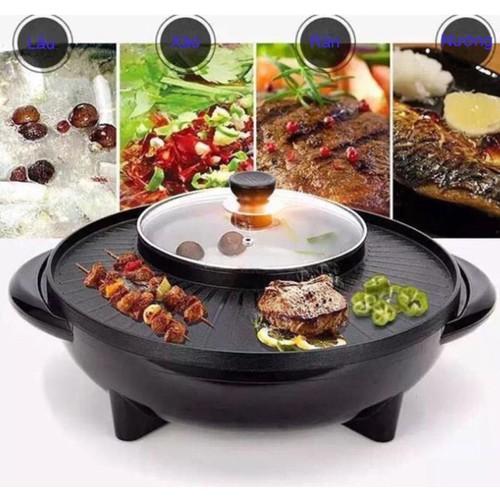 Voucher Khuyến Mại [TIỆN LỢI KHÔNG KHÓI] Bếp Nướng Lẩu Tròn 2 Trong 1 Vừa Ăn Lẩu Vừa Nướng Thịt - Kiểu Dáng Hàn Quốc Sang Trọng