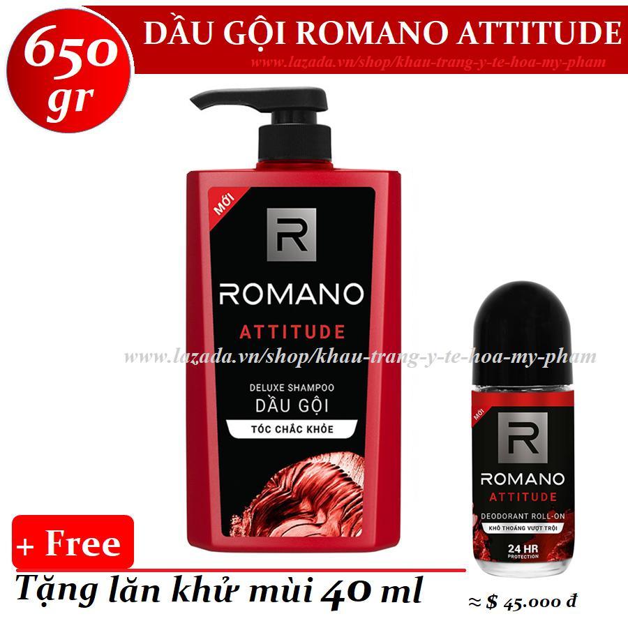 Romano - Dầu gội Hương nước hoa Attitude 650 gr + Tặng lăn khử mùi 40 ml