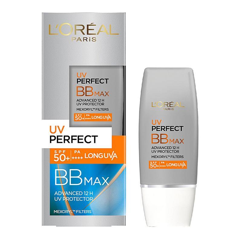 Kem chống nắng LOreal UV Perfect BB Max SPF 50 - Chống nắng & Trang điểm, làm đều màu da (Màu bạc) tốt nhất