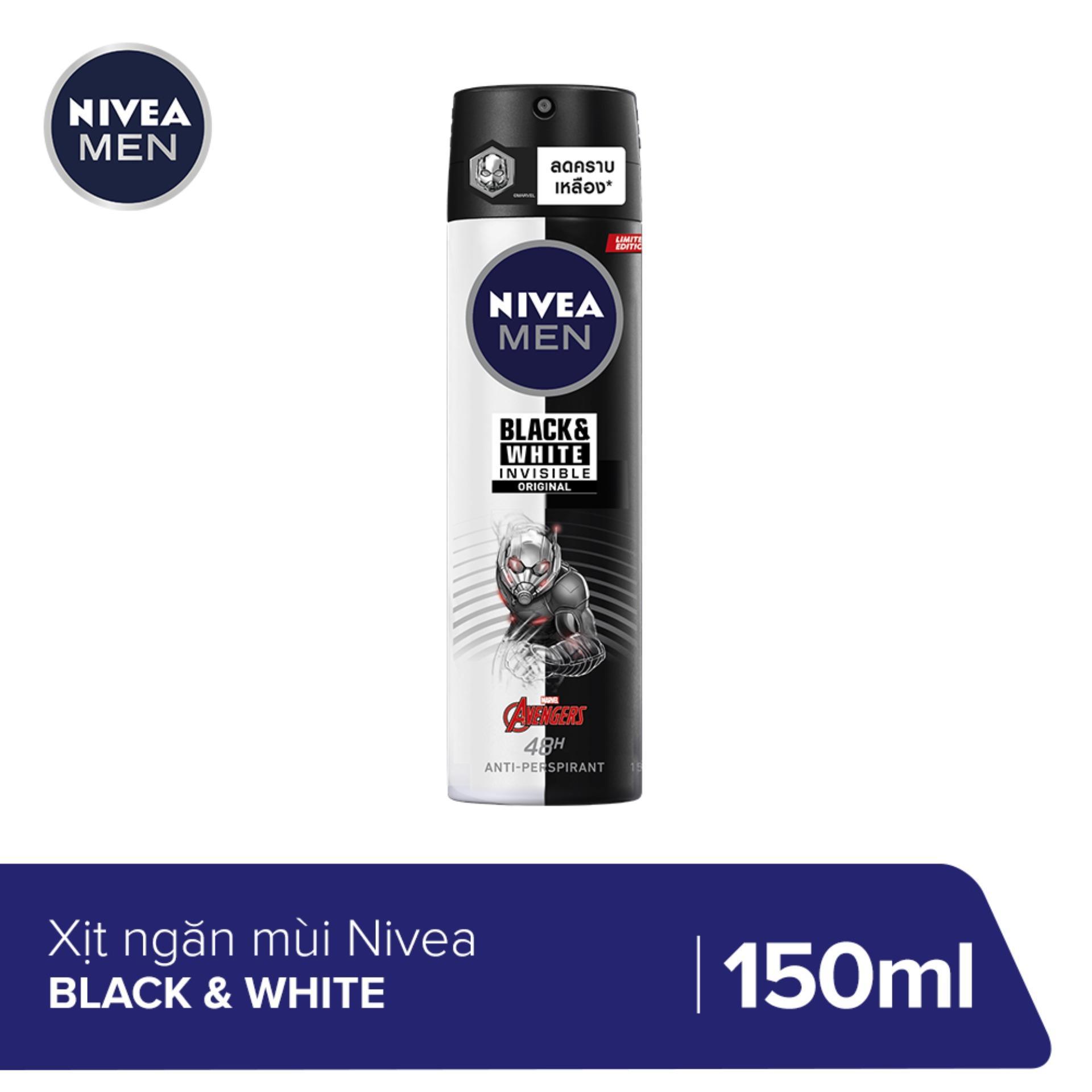 Xịt ngăn mùi NIVEA MEN Black & White Giảm Hình Thành Vệt Ố Vàng (150ml) - 82241 (Phiên bản giới hạn Ant-Man) cao cấp