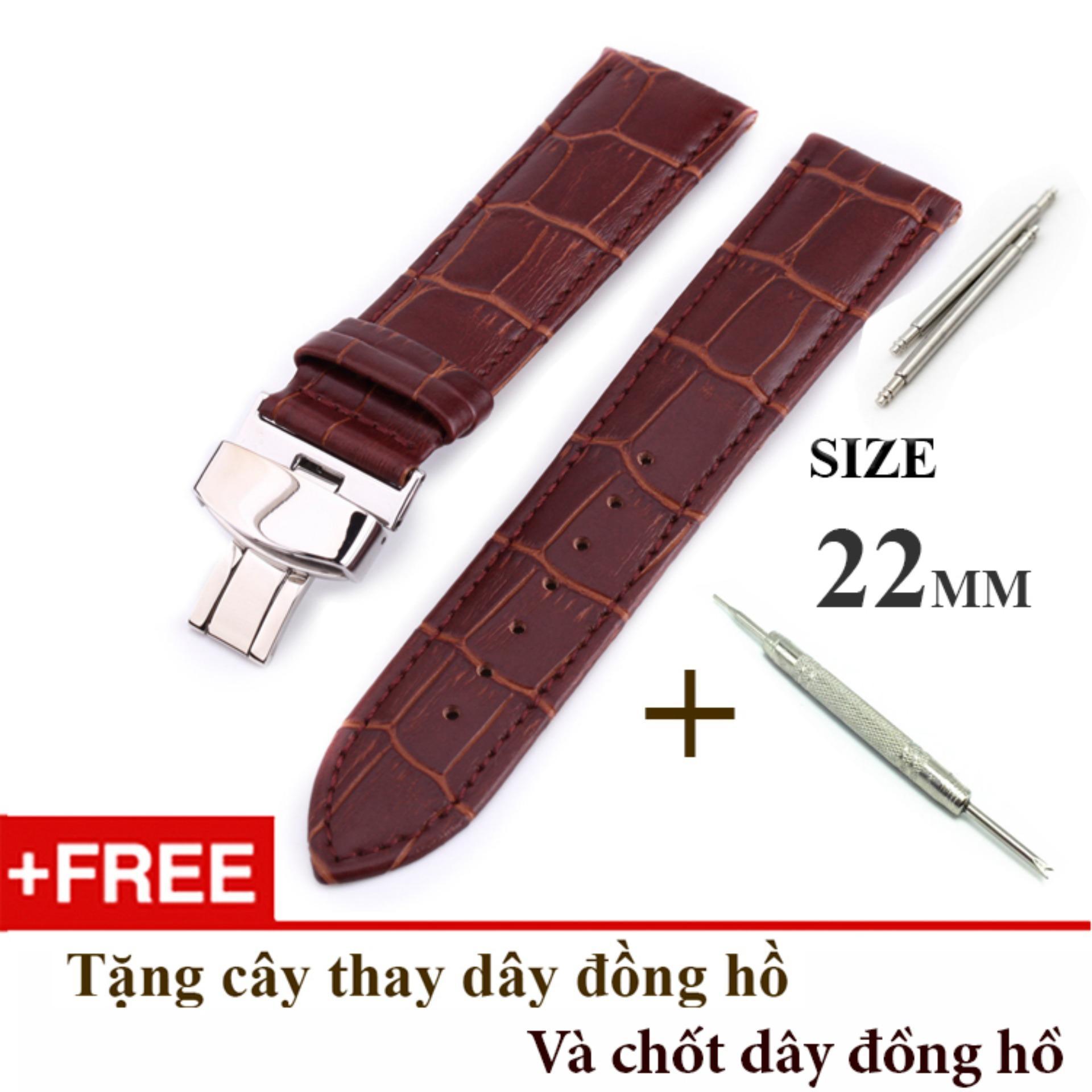 Nơi bán Dây đồng hồ da bò xịn SIZE 22mm, khóa bướm thép 316 (nâu-B09)