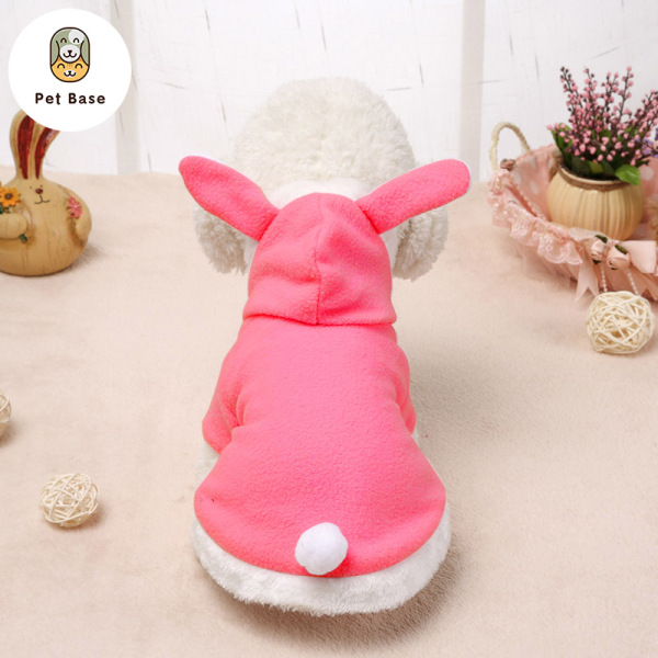 Cute Bunny Pet Dog Costume Clothes Hooded Coat Fleece Puppy Warm Outfit