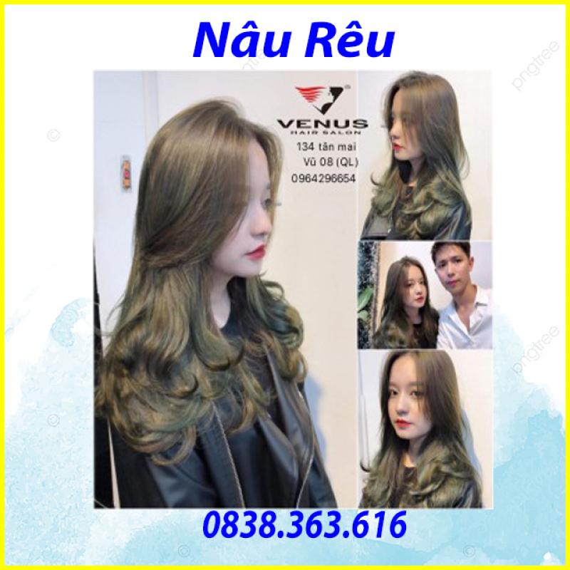 Tự nhuộm tóc màu Nâu rêu tại nhà, hàng nội địa Việt Nam, không gây hư tổn cho tóc (TẶNG KÈM OXY TRỢ NHUỘM + GĂNG TAY) giá rẻ