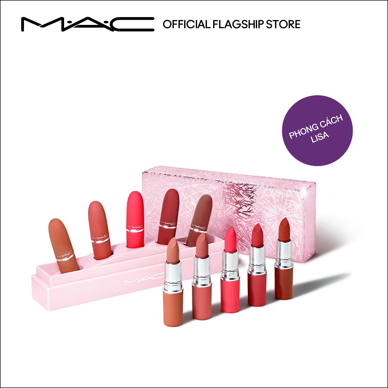 [Phiên bản giới hạn - Holiday] MAC Frosted Firework -Bộ 5 Son Powder Kiss Lipsticks (Trị giá: 3.150.000VNĐ) • Showstopper...