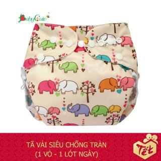 Bộ tã vải BabyCute ban Ngày Siêu chống tràn size L (14-24 kg) (1 Vỏ + 1 Lót) mẫu bé Gái thumbnail