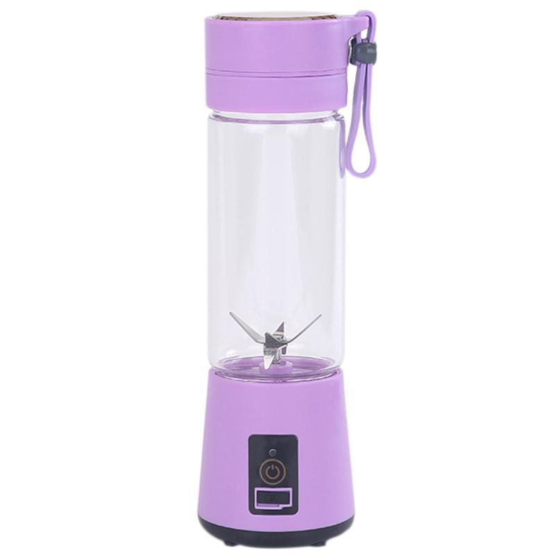 420Ml Portable Juicer Glass Bottle Juicer USB Rechargeable 6 Blades Juicer Smoothie Blender Machine Mixer Mini Juice Cup Purple
