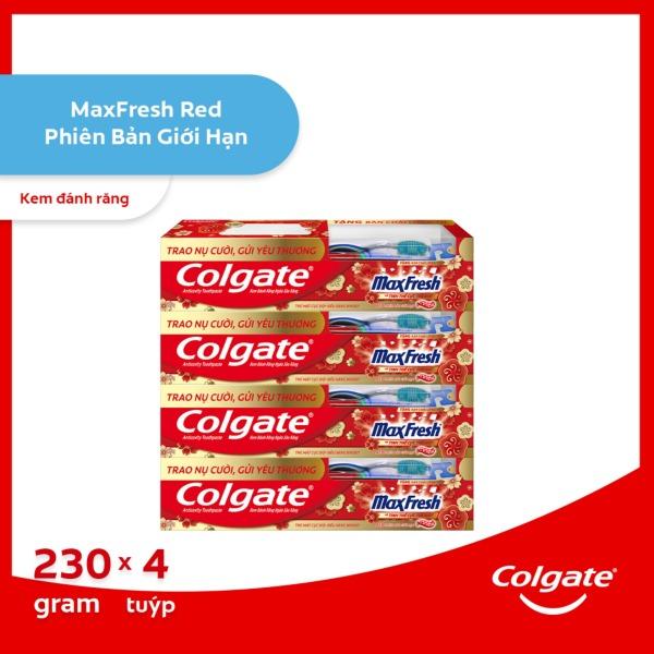 Bộ 4 Kem đánh răng Colgate the mát Maxfresh Đỏ 230g/tuýp tặng bàn chải đánh răng lông tơ Thái Lan