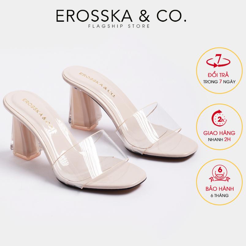Dép nữ, dép cao gót Erosska quai trong kiểu dáng đơn giản thời trang thanh lịch cao 9cm - EM040(NU) giá rẻ