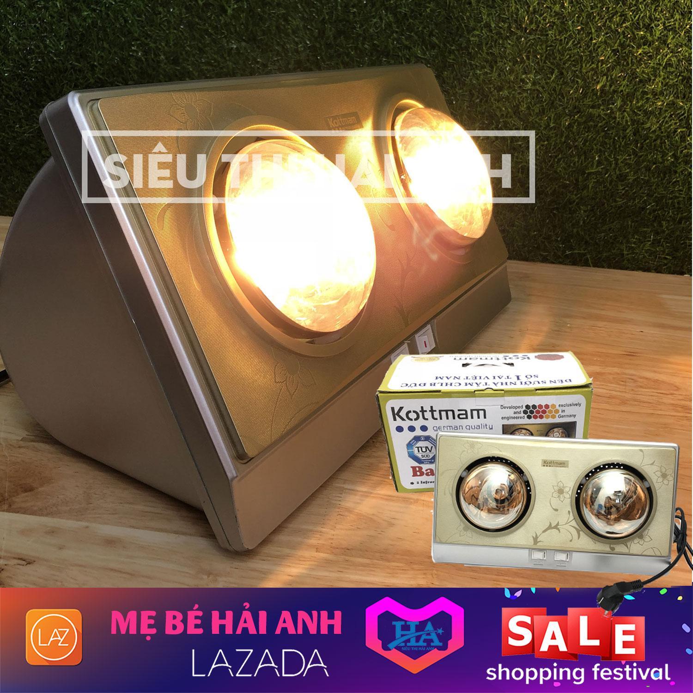 Đèn sưởi 2 bóng phòng tắm Kottman, Máy sưởi ấm nhà tắm đa năng - GDMAI160