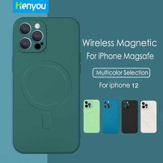 ốp lưng iPhone 12mini 12 12 Pro 12 Pro Max Henyou Magsafe Magnetic Classic Square Liquid Silicone Case For iPhone 12 mini Pro Max Wireless Charging Magsafe Cover thumbnail