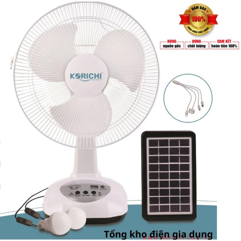 Quạt tích điện- Sạc pin năng lượng mặt trời, tặng pin,cổng usb sạc điện thoại Korichi KRC 6300